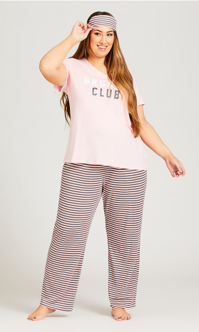 Plus Size Brunch Club Sleep Set - pink