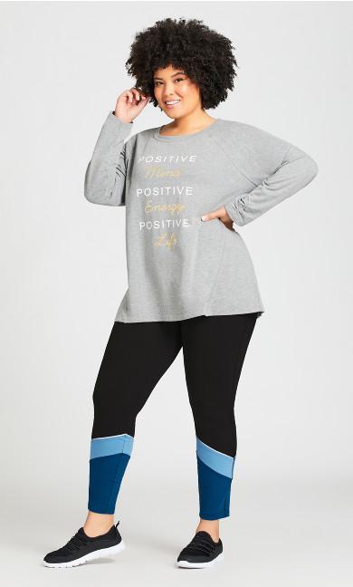 Plus Size Legging Color Block Black Blue - average
