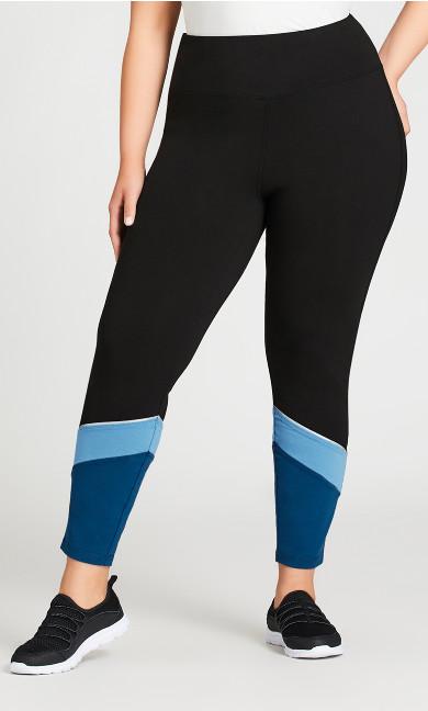 Legging Colour Block Black Blue - average