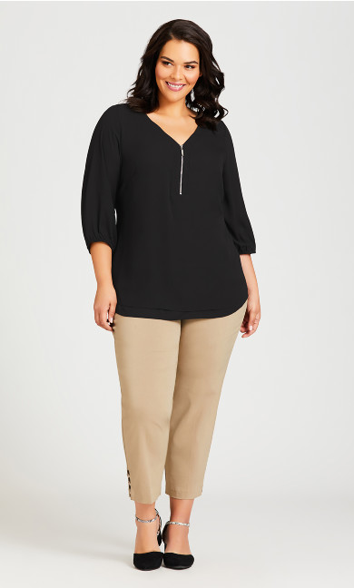 Plus Size Meila Zip Top - black