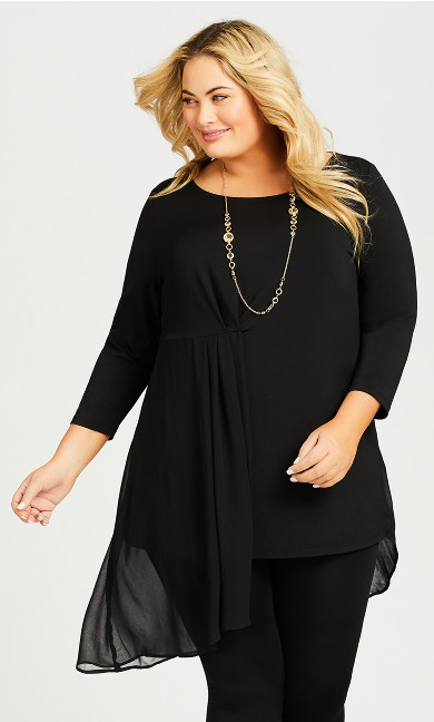 Plus Size Layla Drape Tunic - black