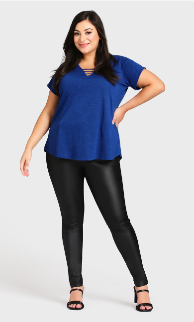 Plus Size 3 Bar V Neck Tunic - cobalt
