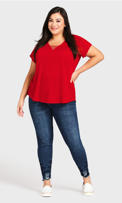 Plus Size 3 Bar V Neck Tunic - red