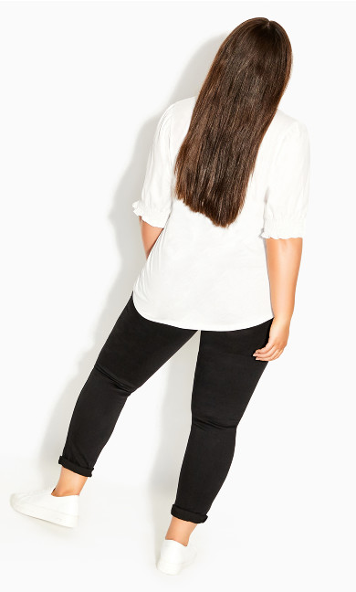 Sleeved Mix Top - ivory