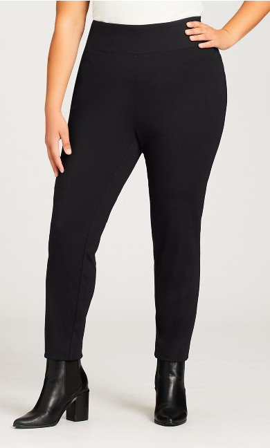 Ponte Pull On Wide Waist Trousers Black - average