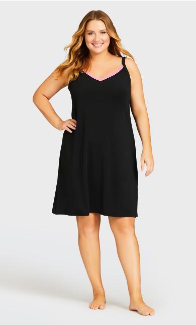 Plus Size Sexy Lace Chemise - black