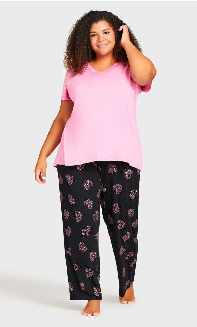 Plus Size Pink Heart Sleep Pant - black