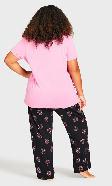 Pink Heart Sleep Bottoms - black