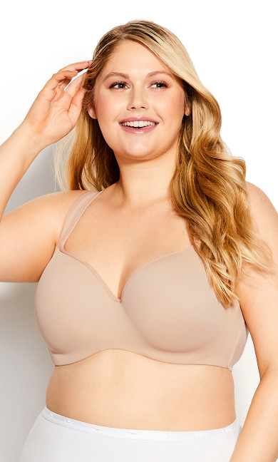 Plus Size Basic Balconette Bra - natural