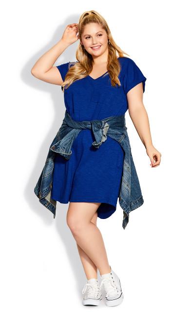 Plus Size Summer Day Dress - blue