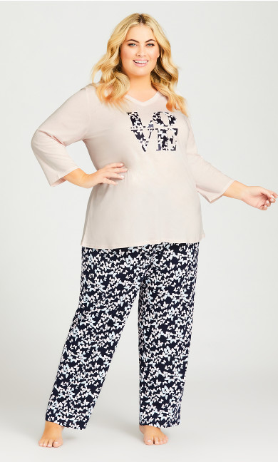 Plus Size Butterfly Sleep Pant - navy