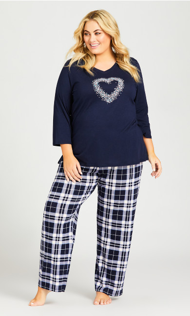 Plus Size Check Sleep Pant - pink check