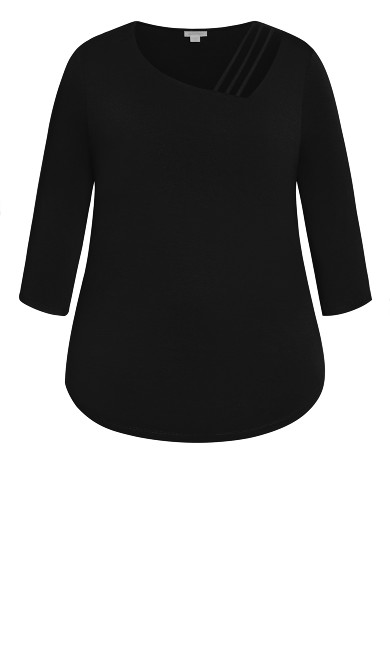 Cut Out 3/4 Sleeve Top - black