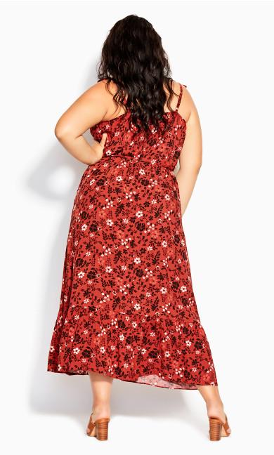 Island Ditsy Maxi Dress - rust