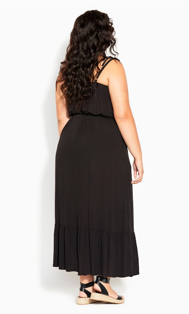 Tropical Escape Maxi Dress - black