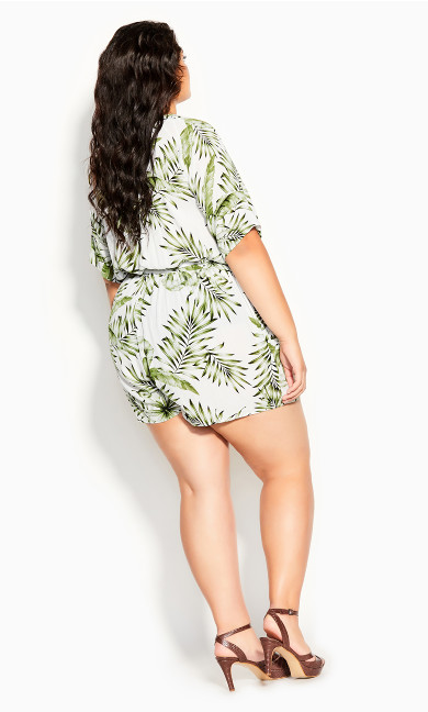 Palm Love Playsuit - ivory