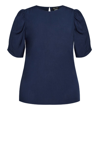 Ruched Escape Top - navy