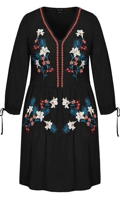 Precious Embroidered Dress - black