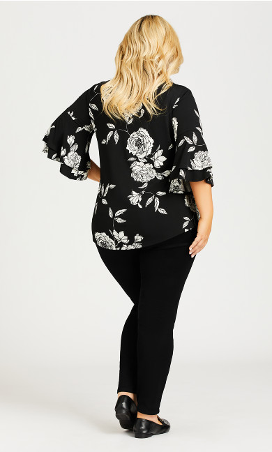 Double Bell Sleeve Print Top - black
