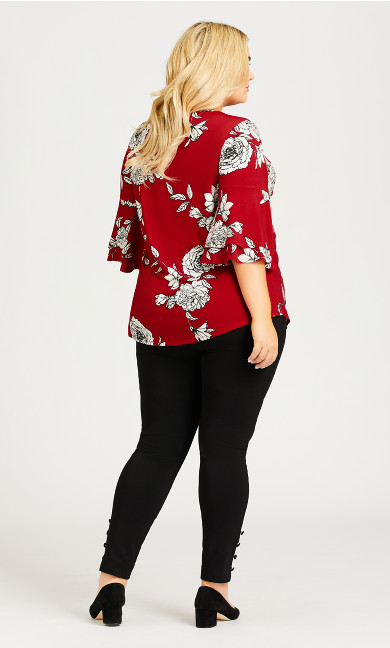Double Bell Sleeve Print Top - red