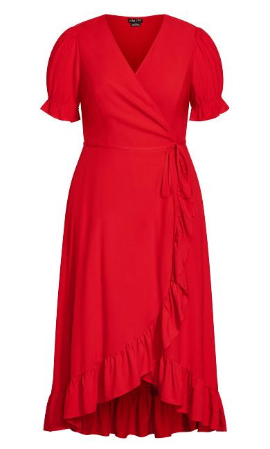 Ruffle Flirt Maxi Dress - red
