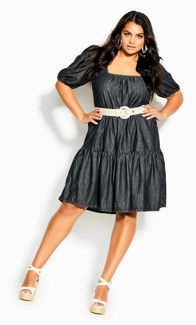 Denim Tier Dress - black
