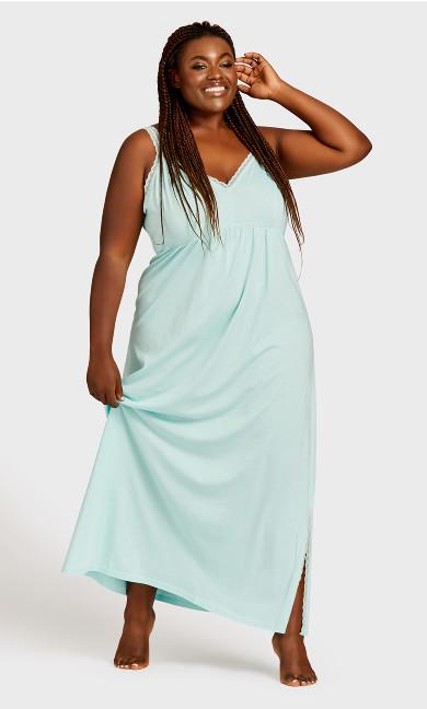 Plus Size Lace Trim Mint Maxi Sleep Dress - mint