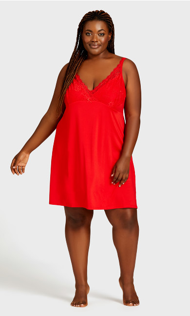 Plus Size Lace Trim Chemise - red