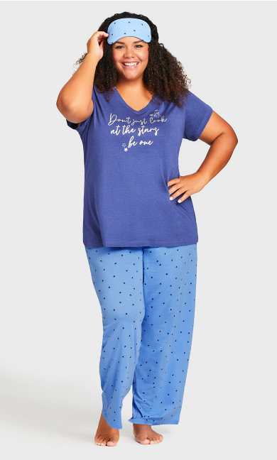 Plus Size Star Sleep Set - blue