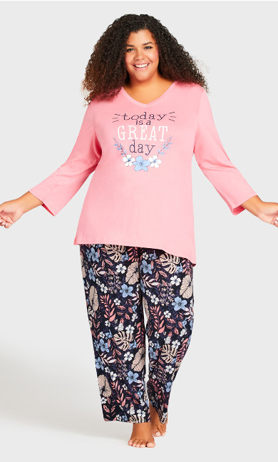 Plus Size 3/4 Sleeve Sleep Top - pink