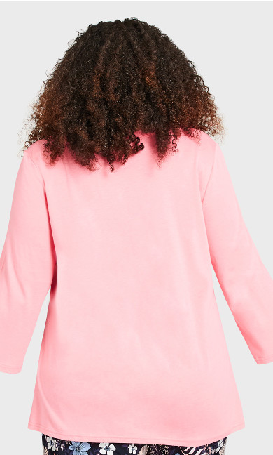 3/4 Sleeve Sleep Top - pink