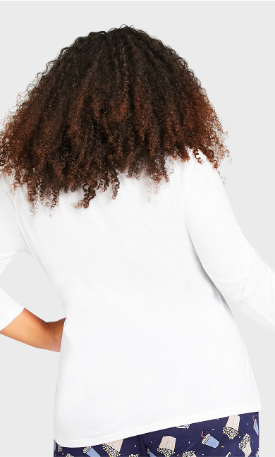 3/4 Sleeve Sleep Top - white