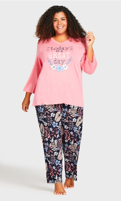 Plus Size Movie Night Sleep Pant - navy foliage