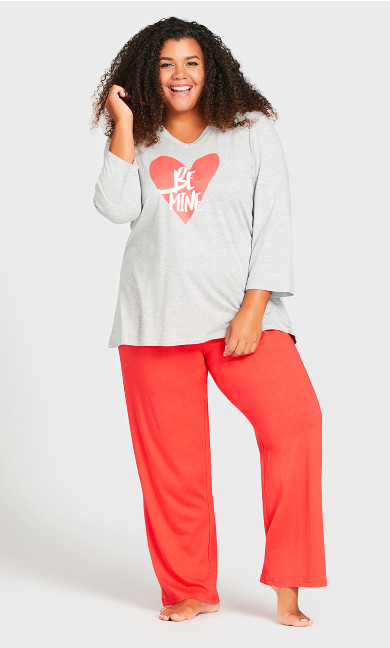 Plus Size Print 3/4 Sleeve Sleep Top - gray