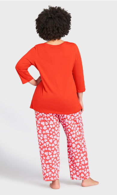 Print 3/4 Sleeve Sleep Top - red