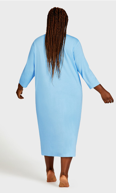 Print 3/4 Sleeve Sleep Shirt - blue