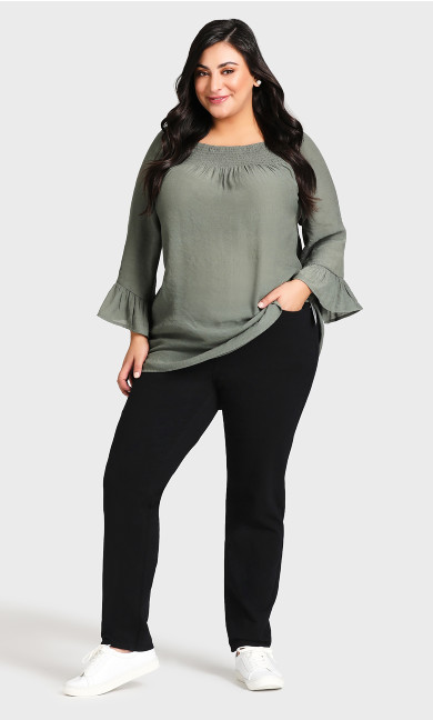 Plus Size Knit Pull On Jean Black - petite