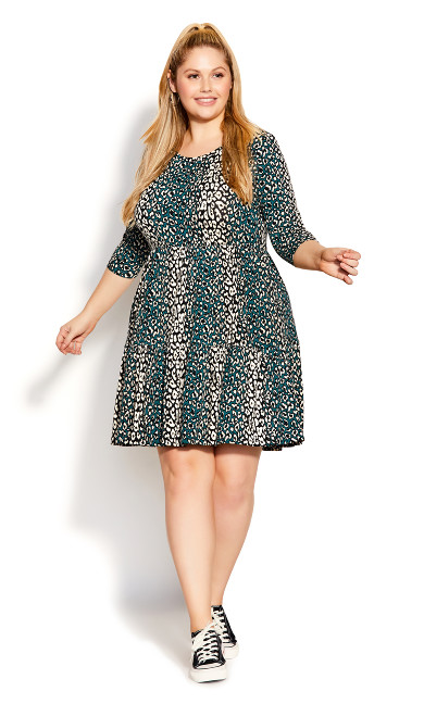 Plus Size Anya Print Dress - animal