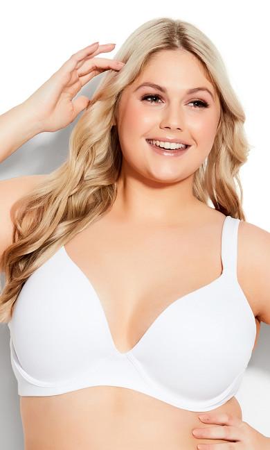 Plus Size Uplifting Plunge Bra white
