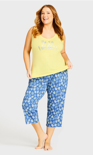 Print Sleep Bottoms - blue egg
