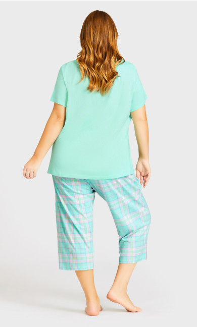 Tie Waist Print Sleep Bottoms - mint check