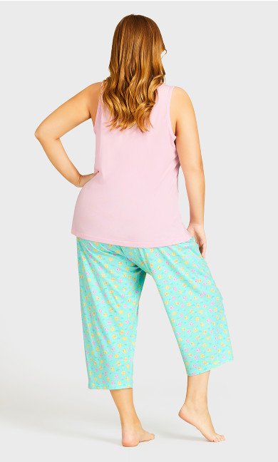 Tie Waist Print Sleep Bottoms - mint