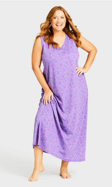 Print Maxi Sleep Dress - purple heart