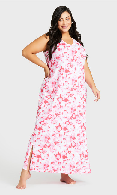 Plus Size Print Maxi Sleep Dress - pink tie dye