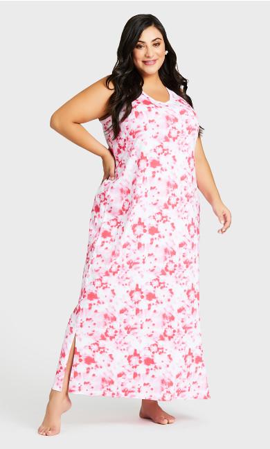 Plus Size Print Maxi Sleep Dress - pink tie dye