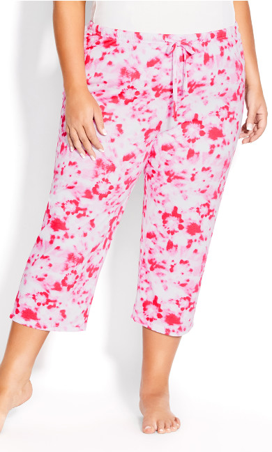 Print Sleep Bottoms - pink tie dye