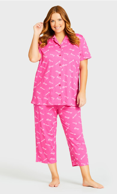 Plus Size Print Sleep Pant - pink sleep