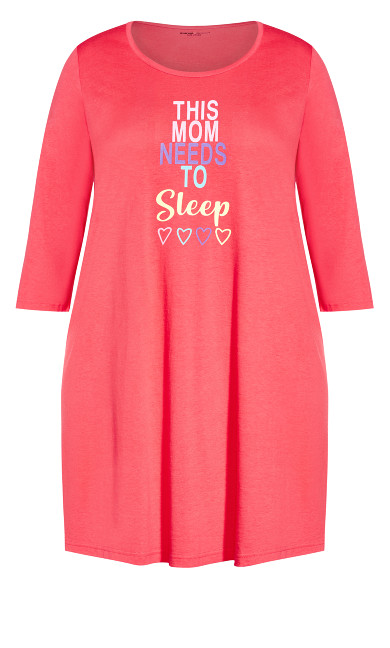 3/4 Sleeve Sleep Shirt - coral sleep
