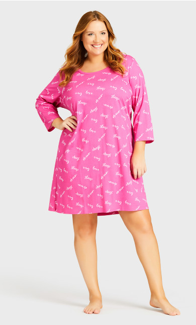 3/4 Sleeve Sleep Shirt - pink sleep