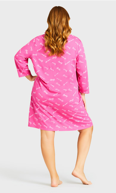 3/4 Sleeve Sleep Shirt - pink sleep